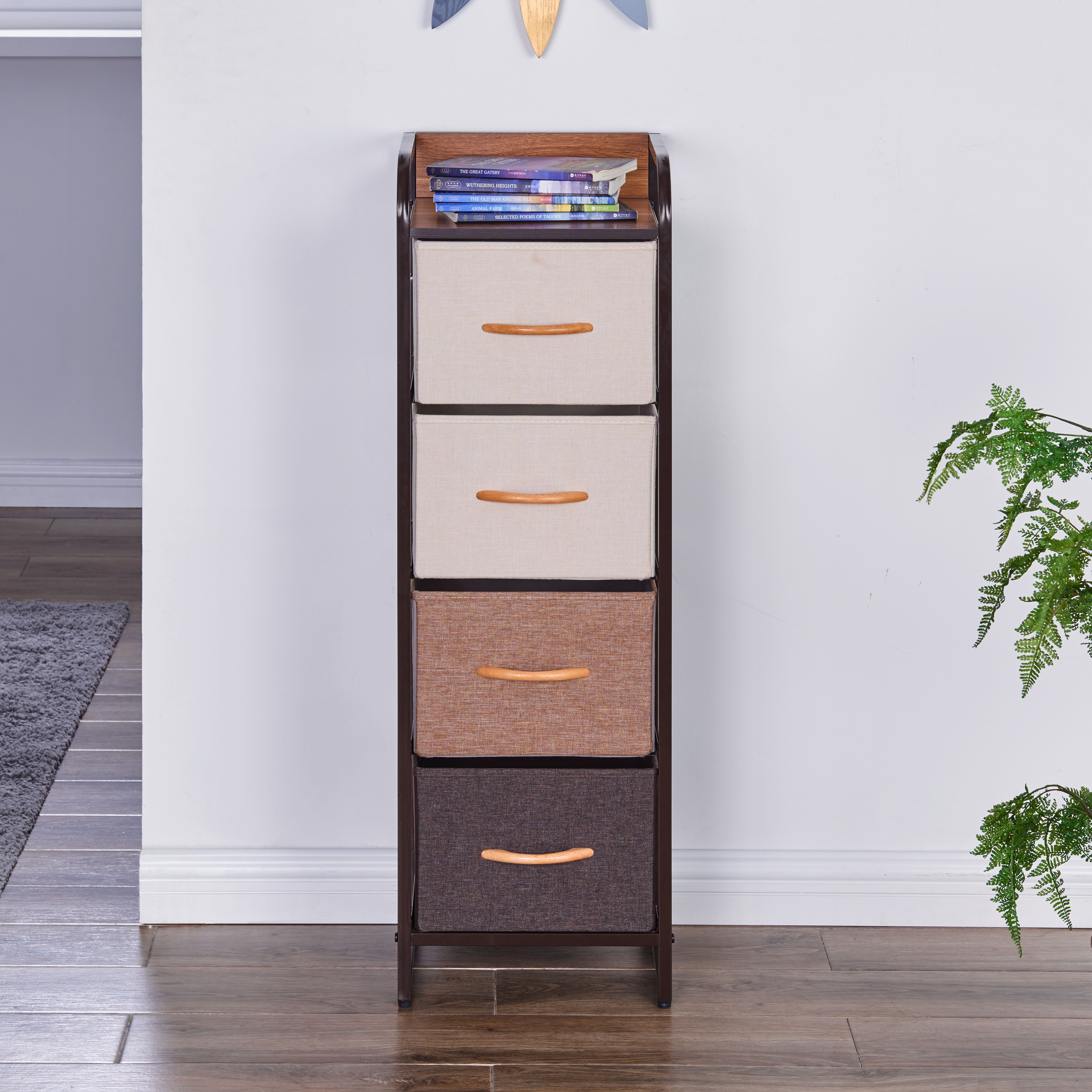 Decorative Modern Tall And Narrow Dresser Chest Storage Tower With 4 Fabric Drawers Danya B In 2021 Narrow Dresser Fabric Drawers Storage Towers [ 6187 x 6187 Pixel ]