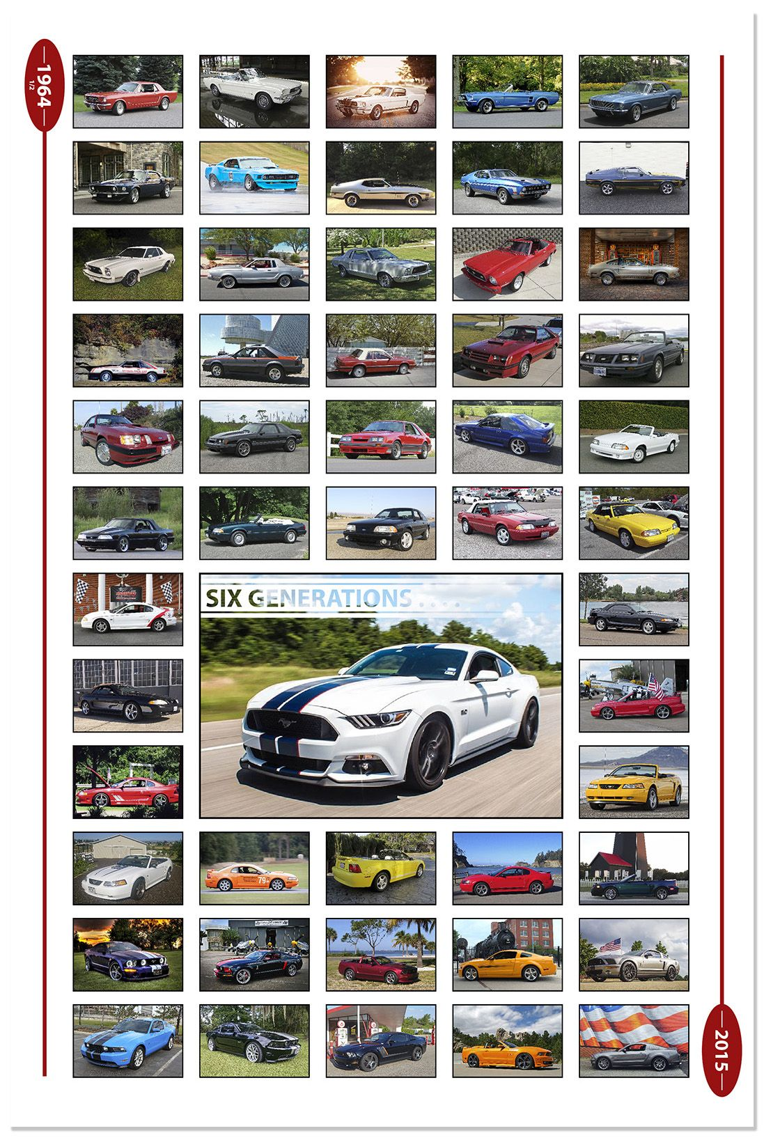 Six generations of mustang the drivers poster by garagewraps com ford mustang ford