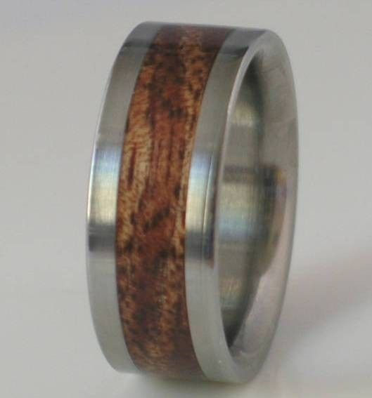 Titanium Wood Ring Koa Wedding Band Hawaiian Wooden Inlay Bands Available For Men And Women