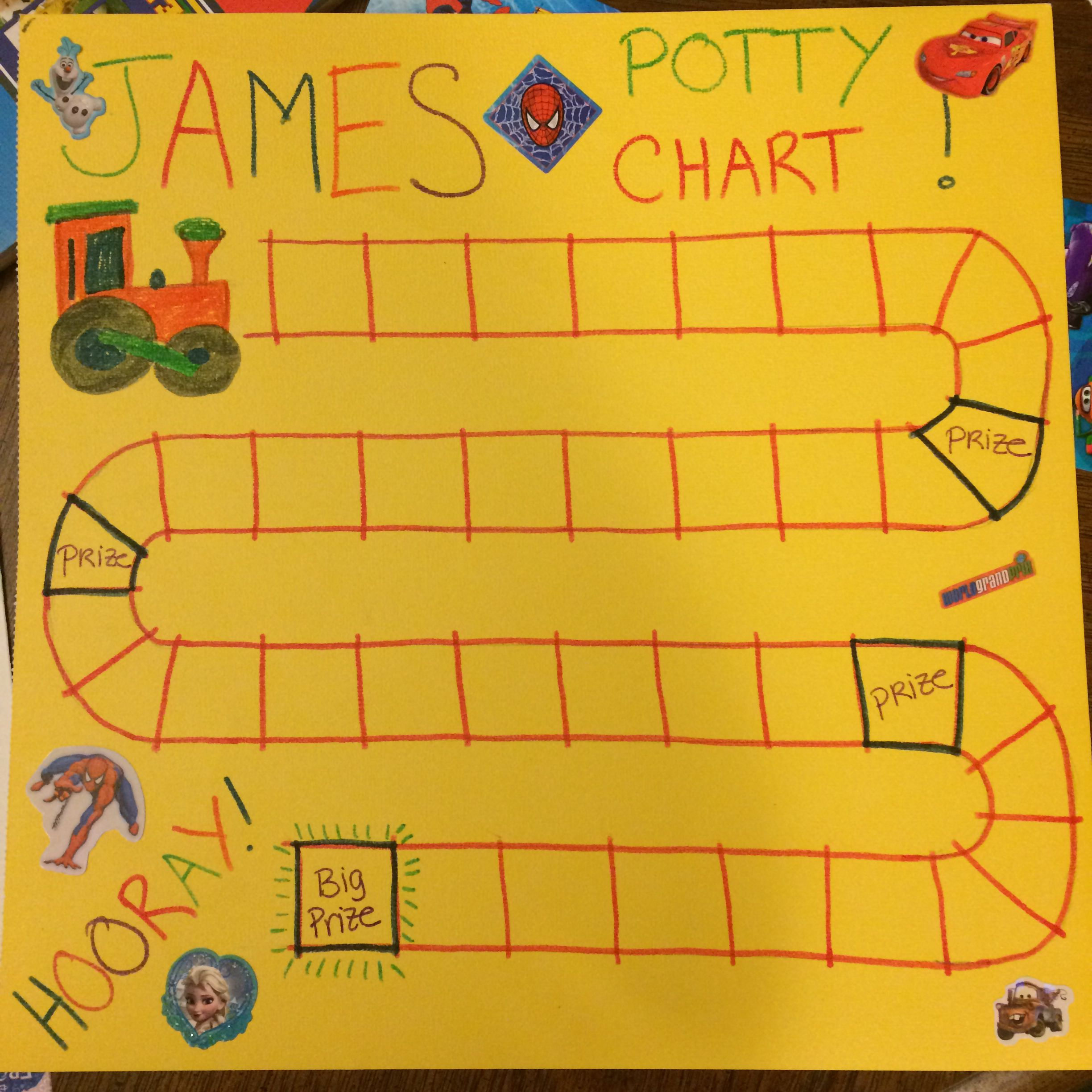 potty training chart  he gets 1 sticker for each pee  and