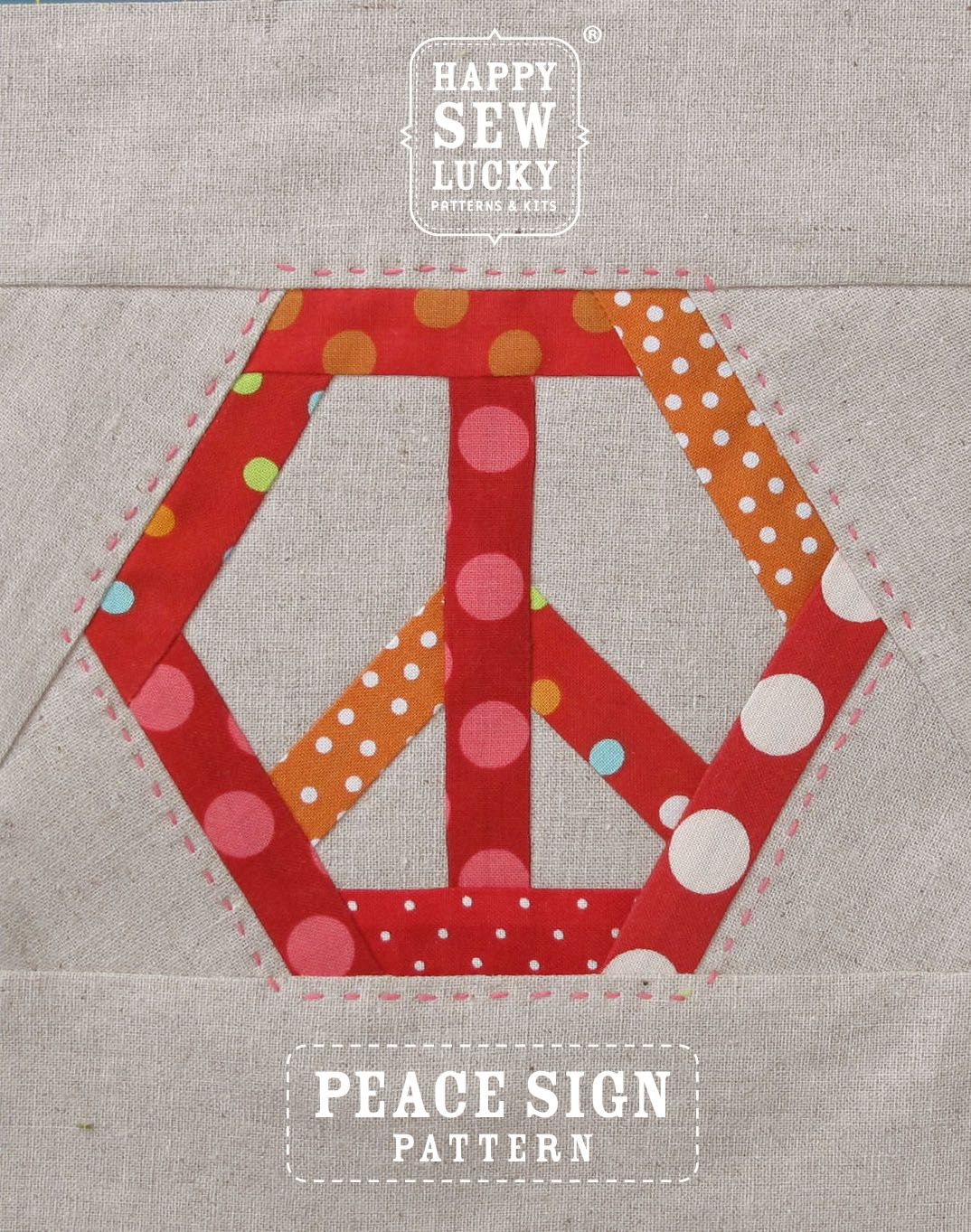 Peace Sign quilt pattern   Happy Sew Lucky