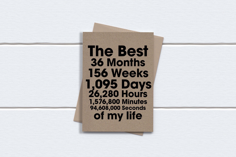 3rd Anniversary Card Three Years Anniversary Card The Best Etsy 1st Anniversary Cards Anniversary Cards Anniversary Cards For Him