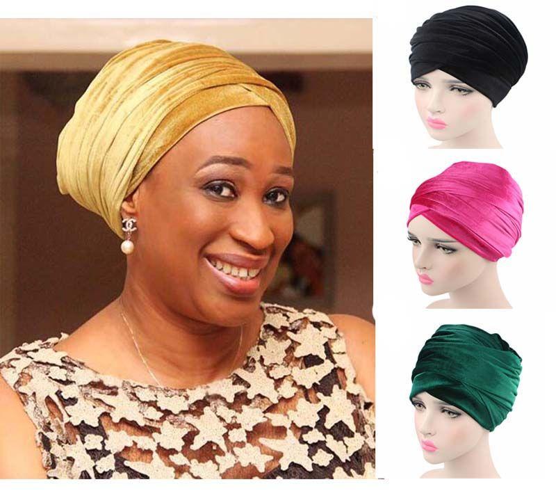 Nuove Donne di Modo Velvet Turbante Fascia Dell'involucro Hijab Extra Lungo Tubo di Velluto Capo Dell'involucro Della Sciarpa Turbante