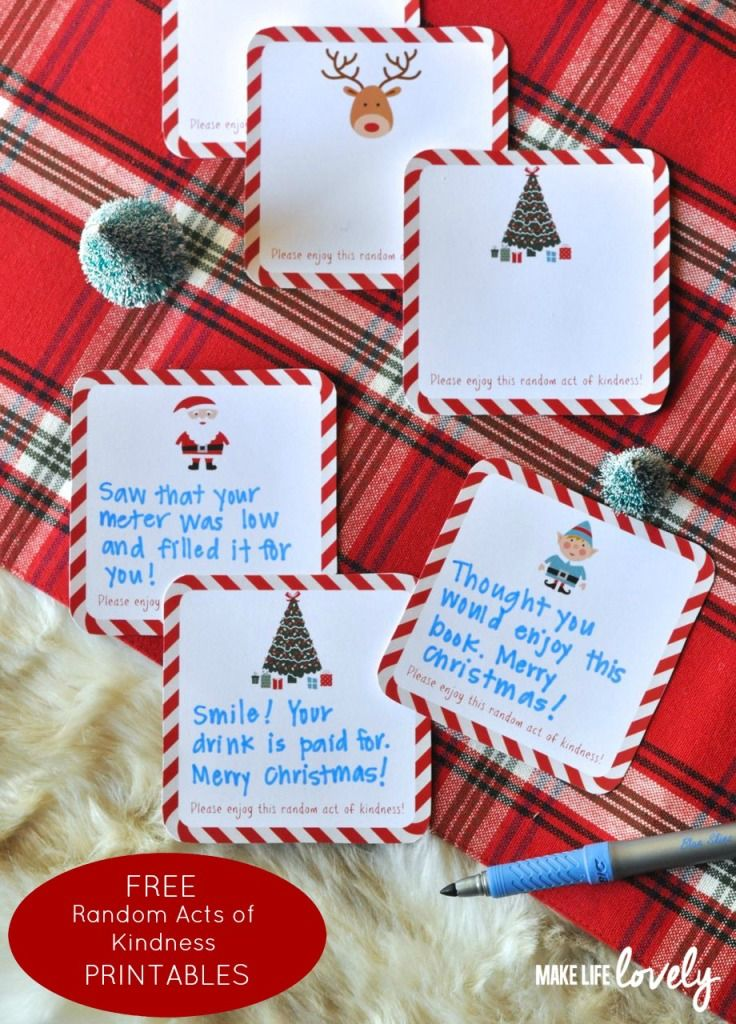 Free Printable Random Act Of Kindness Cards Diy Holiday Cards Printable Christmas Cards Christmas Card Template