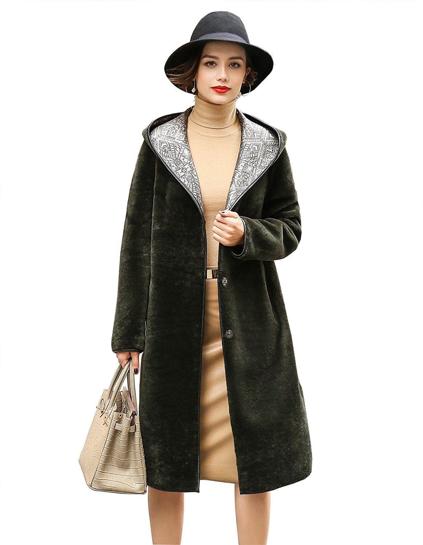 MEEFUR Women's Reversible Coats Genuine Sheep Leather