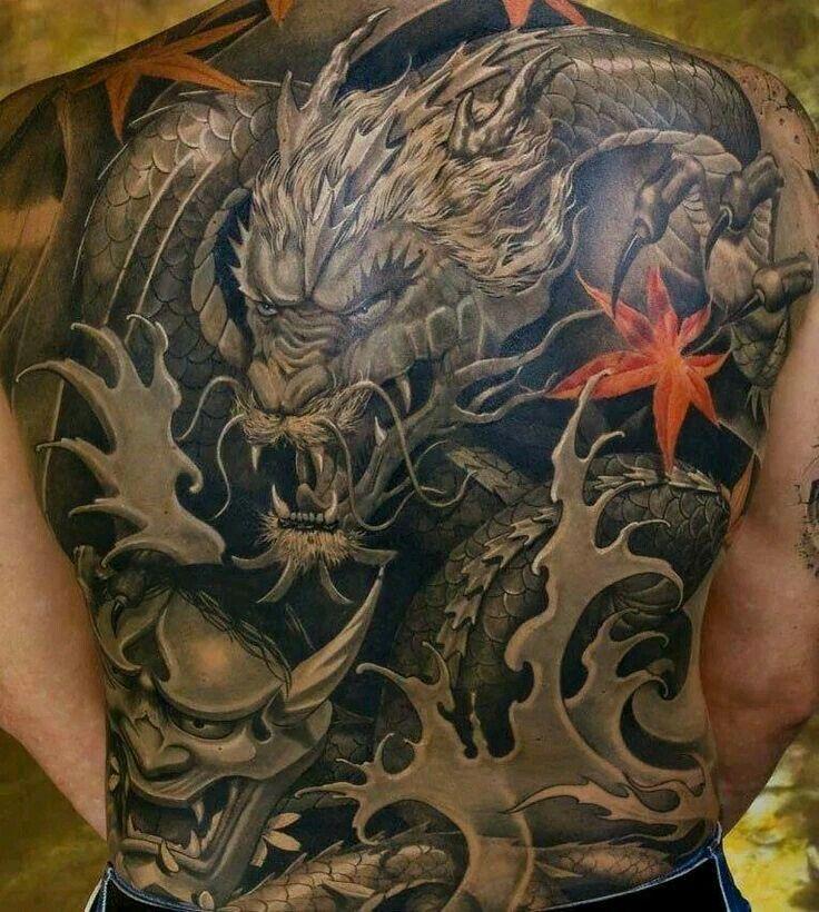 Japanese style dragon back Dragon tattoos for men