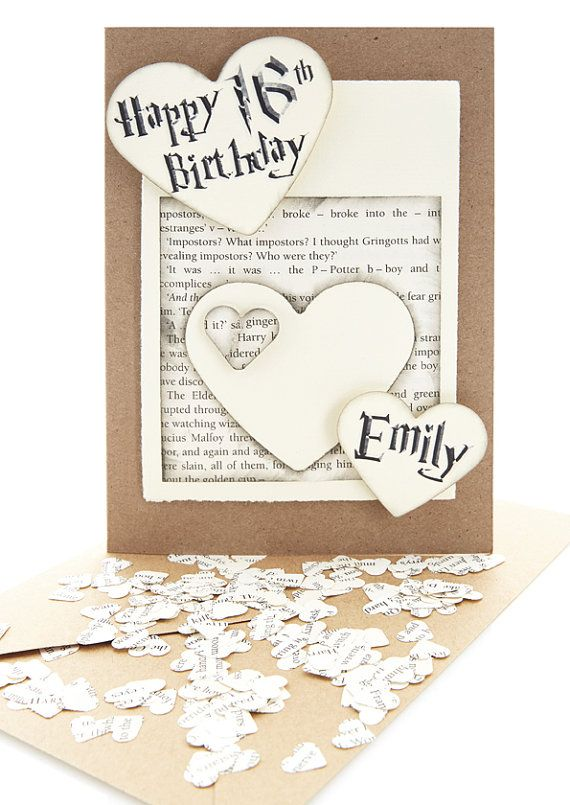 Personalised Birthday Made Using Harry Potter Book Pages Hp Etsy Card Making Birthday Handmade Birthday Cards Harry Potter Cards