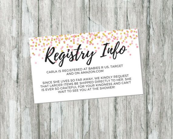 Wedding Gift For Someone With No Registry: Shower Gift Registry Card Pink And Gold Baby Shower