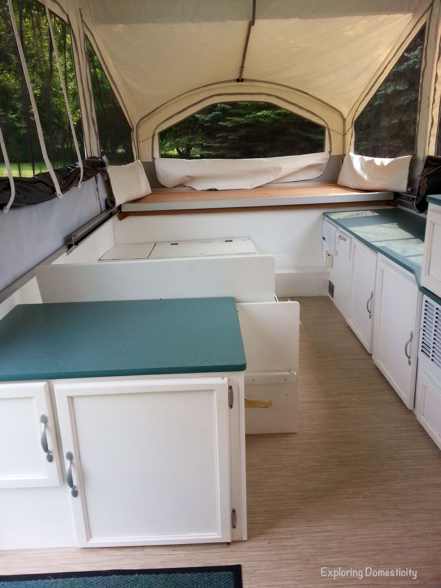 Pop Up Camper Remodel Painting And Flooring Pop Up Camper