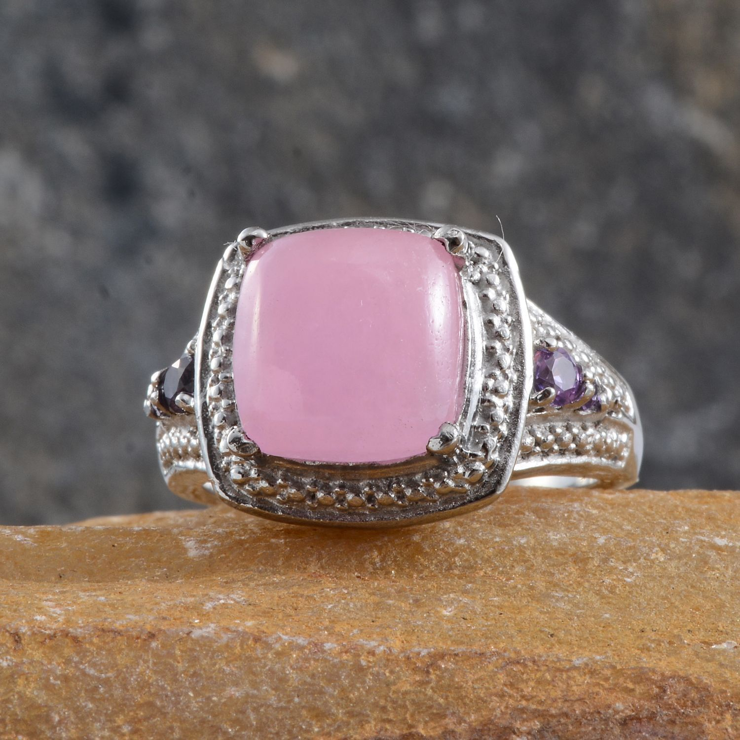 Pink Jade (Cush 6.15 Ct), Lab Created Purple Sapphire Ring in ...
