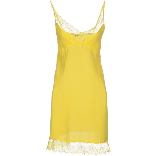 Pinko Black Short Dress ($61) ❤ liked on Polyvore featuring dresses, yellow, sleeveless dress, deep v-neck dress, short yellow dress, yellow lace dress and lace dress