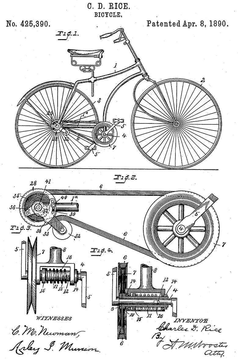 C.D. Rice Bicycle Patent | Graphics | Pinterest | Bicycling