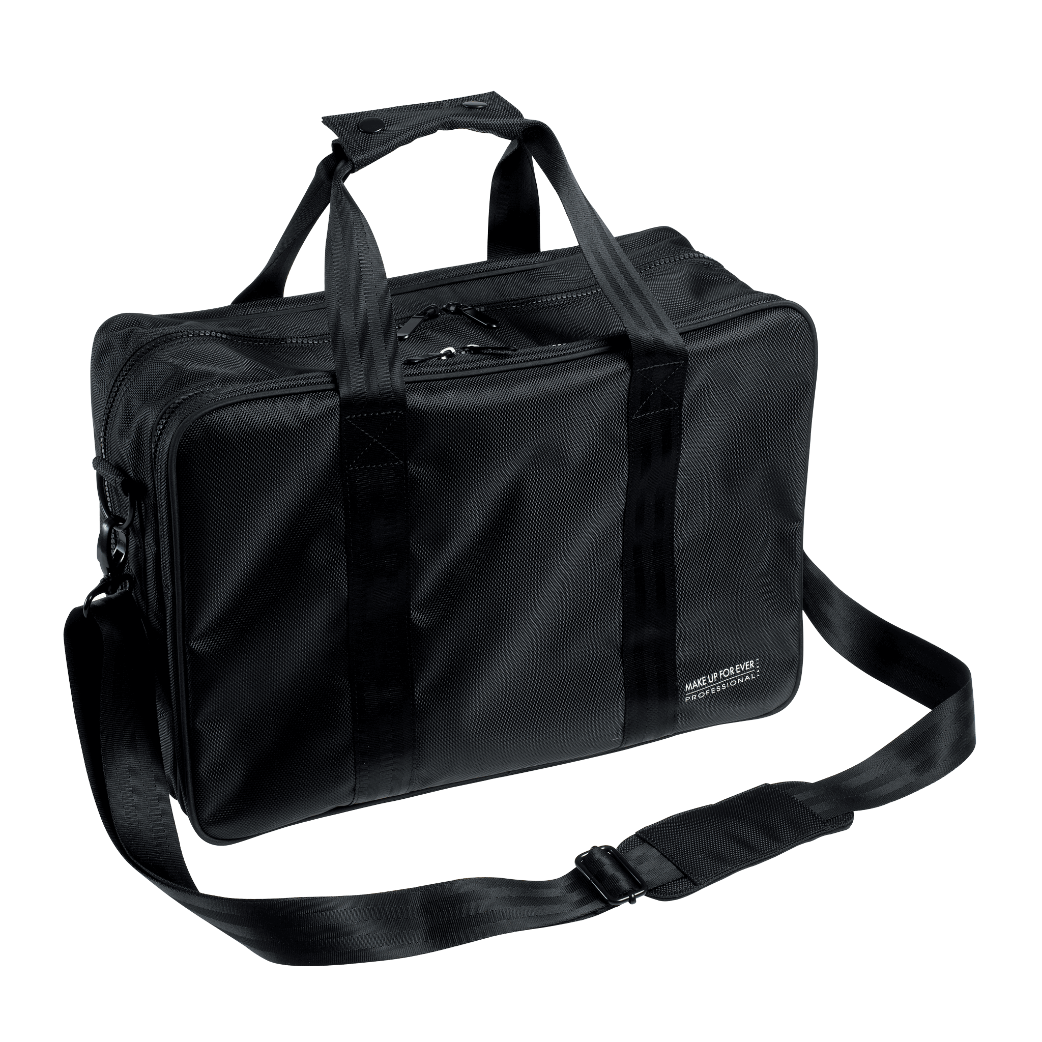 A flexible bag with multiple zipper compartments and mesh