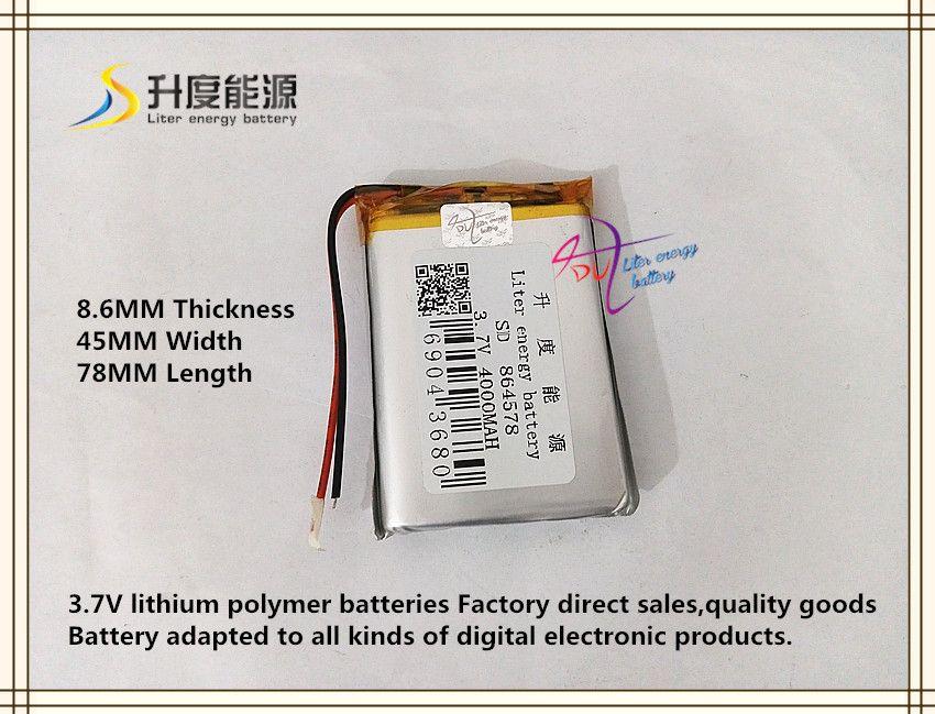 3 7v 4000mah 864578 Polymer Lithium Ion Li Ion Battery For Tablet Pc Power Bank Gps Mp4 Mp3 Vr Dvr Tablet Powerbank Polymer