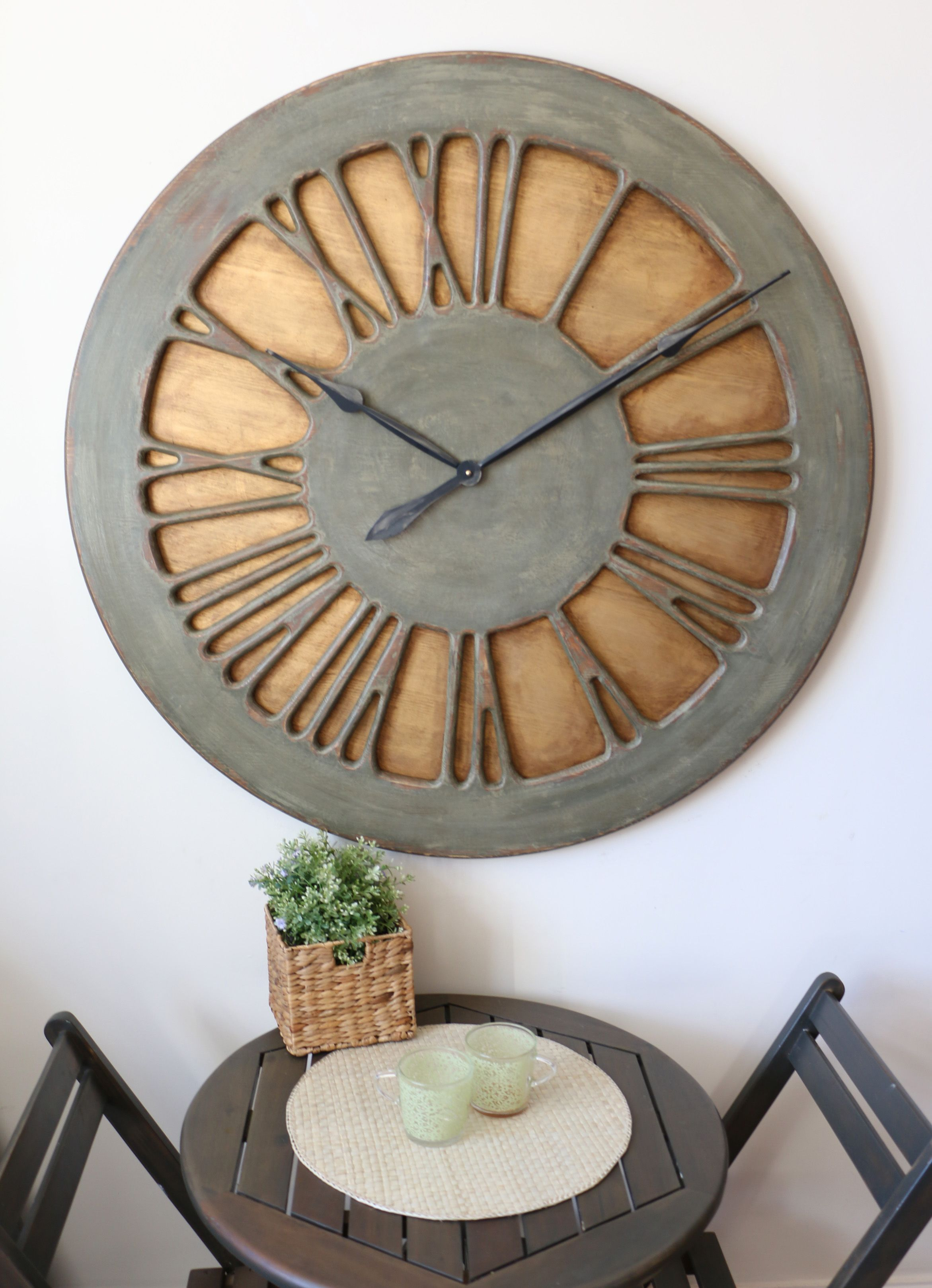 French Wall Clock In Shabby Chic Style Handmade Hand Painted Shabby Chic Centerpieces Clock Home Decor