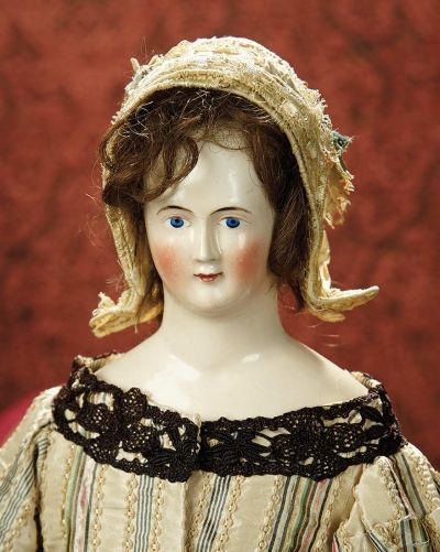 The Memory of All That - Marquis Antique Doll Auction: 235 Rare Early Porcelain Wigged Lady with Pink-Tinted Complexion