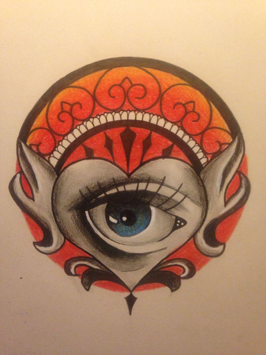 Tattoo drawing made by me! #tattoo #drawing #sketchbook #moleskine #eye #heart