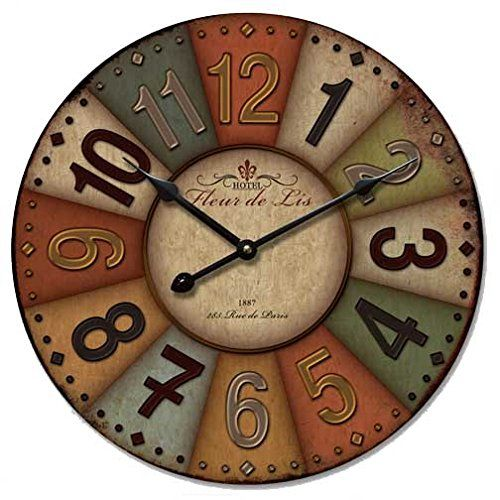 Amazon Com 12 Vintage France Paris Colourful French Country Tuscan Style Paris Wood Wall Clock Wall Clock Wooden Wall Art Decor Clock Wall Decor