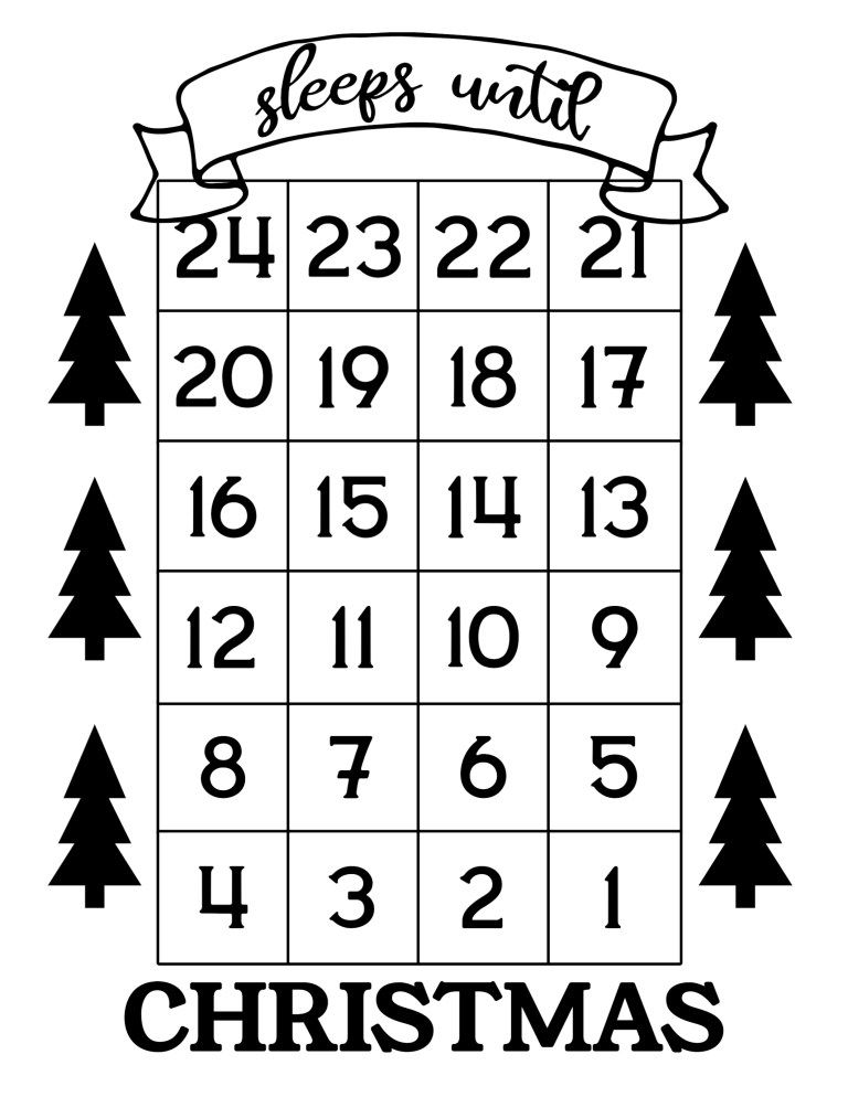 How Many Days Till Christmas 24 2020 How Many Days Until Christmas Free Printable | Paper Trail Design