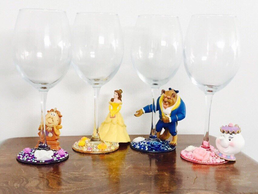 Disney beauty and the beast wine glass set by SparkleBella1 on Etsy https://www.etsy.com/listing/240365449/disney-beauty-and-the-beast-wine-glass
