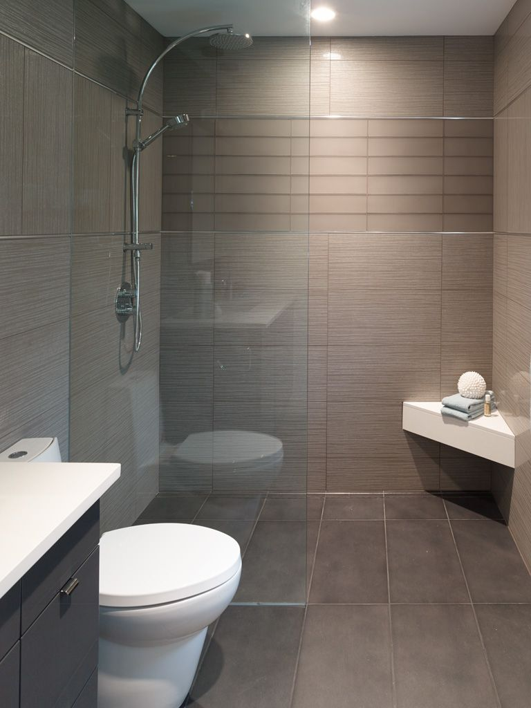 No Threshold Shower With Floating Corner Seat Matte Glass