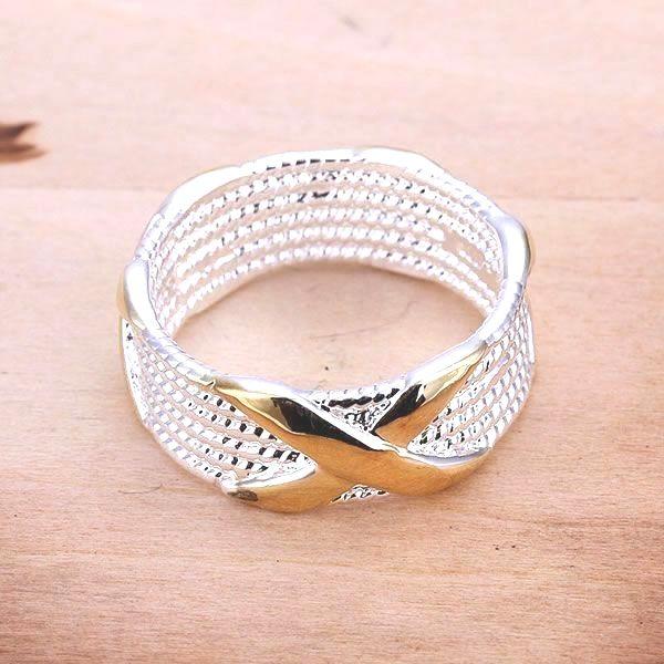 a30f9bdbc145 Envío gratis 925 anillo de plata fina moda separación de colores joyería de plata  X anillo