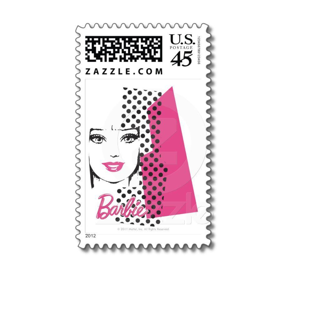 Barbie Retro Collage Postage Stamps from Zazzle.com- want for her invites!!!