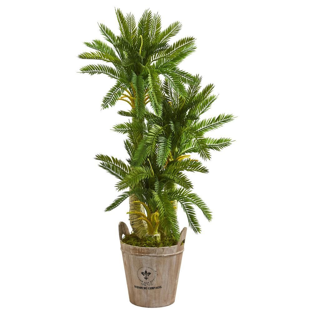 Nearly Natural Indoor 4 Ft Triple Cycas Artificial Plant In Farmhouse Planter 9198 The Home Depot 4ft A Artificial Plants Artificial Foliage Foliage Plants