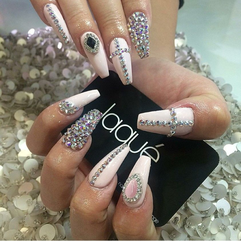 Soft pink coffin nails with tons of big and small gems | nail ...