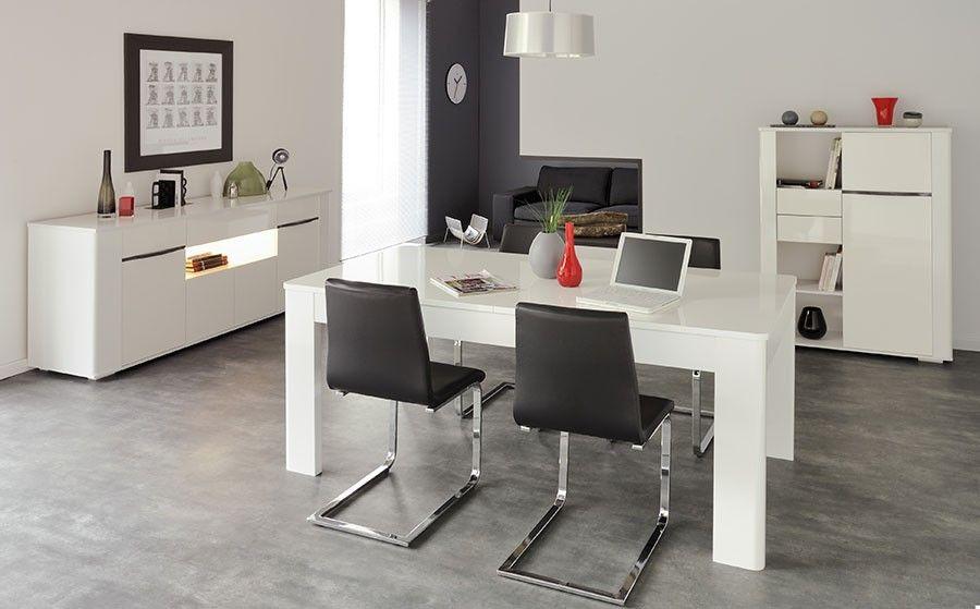 Salle à manger complète moderne blanc brillant clark salle à