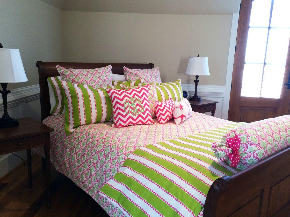 pink + green   custom bedding from decor 2 ur door   college life ...