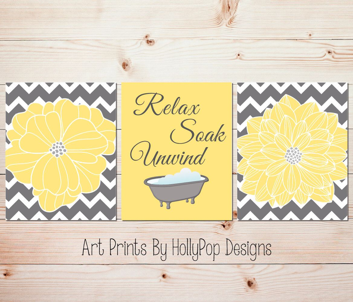Yellow gray bathroom wall decor Bathroom art prints Yellow wall art ...