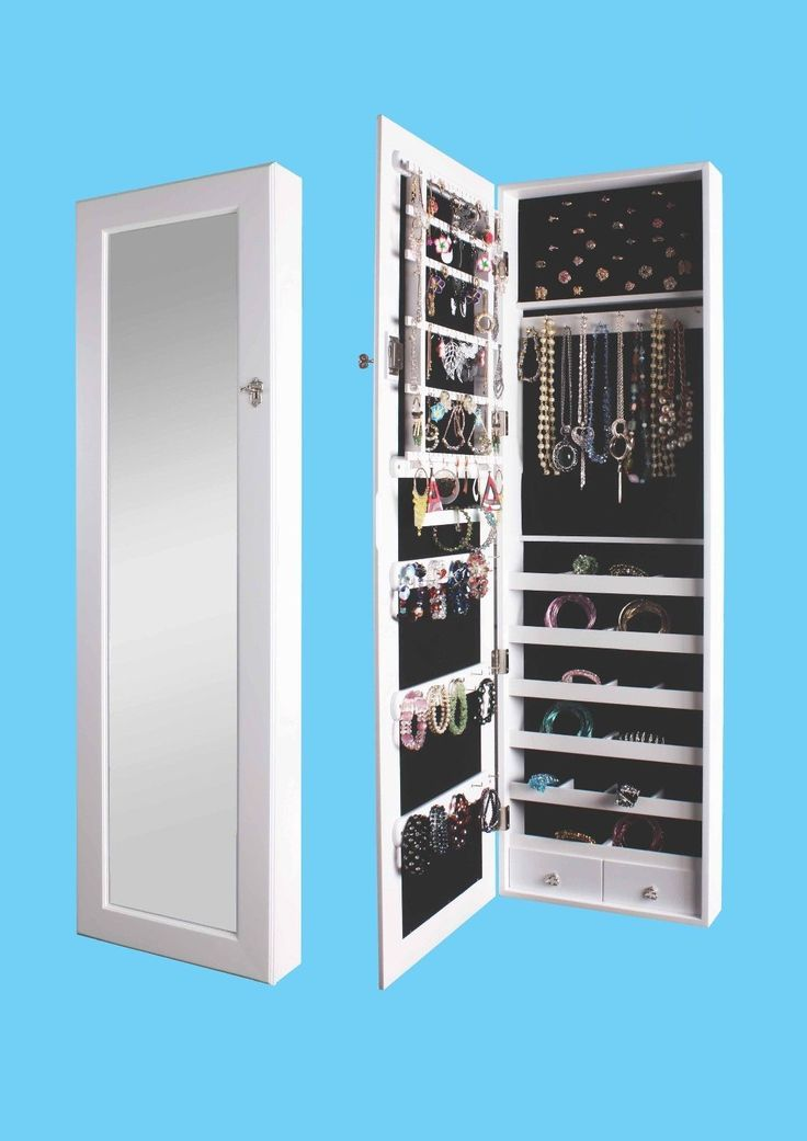 Mirrored Jewellery Armoire Cupboard Storage Wall Mount
