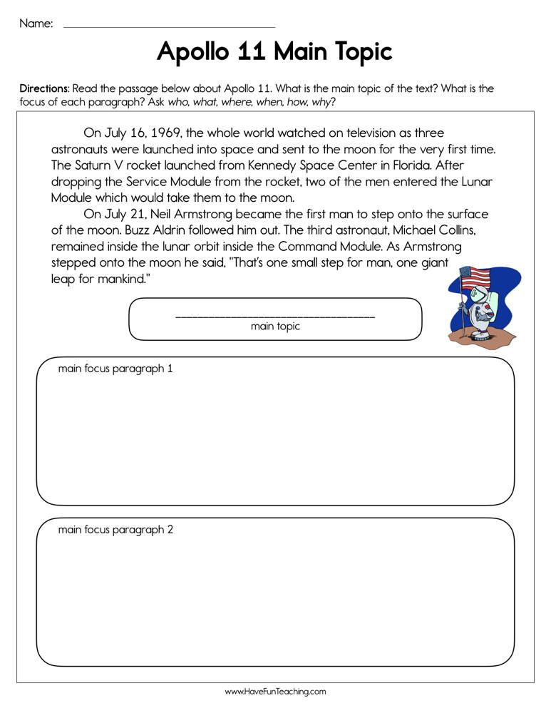 Apollo 11 Main Topic Worksheet Topic worksheets, Reading