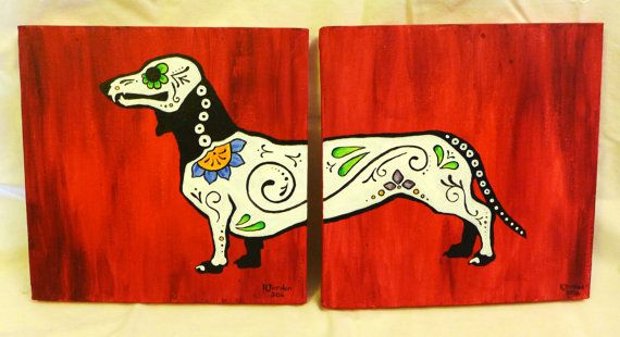 A painting for those who love dachshunds and the Day of the Dead. Done up like a sugar skull, this doxie spans two 10 by 10 canvases. Painted in