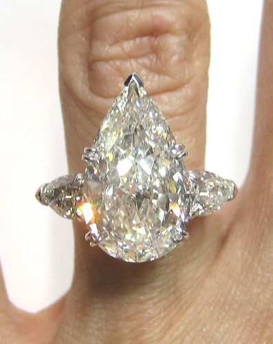 6.83CT PEAR SHAPE DIAMOND ENGAGEMENT WEDDING RING in PLATINUM GIA CERTIFIED