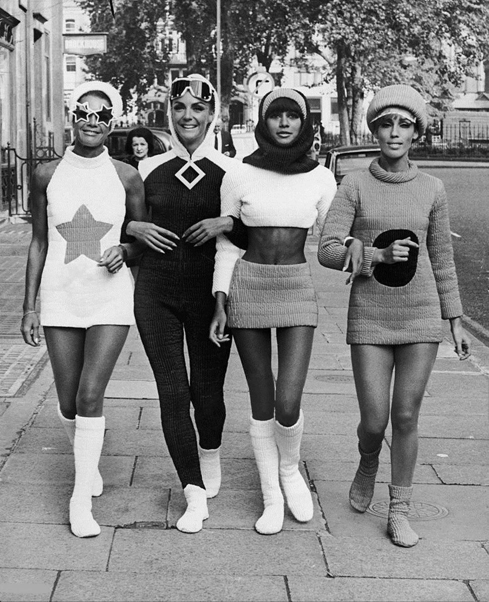 Swinging London, December 1966. Four Models Strolling Through The Streets Of London, Wearing Creations From The Olive Line. The Clothing Line Displayed Here Was Created For The Needs Of The Film Maroc...