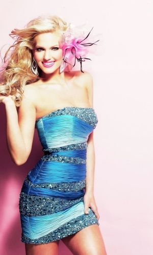 Blue Short/Mini Sequins Zipper Up Prom Dress With Sequin PD3B45