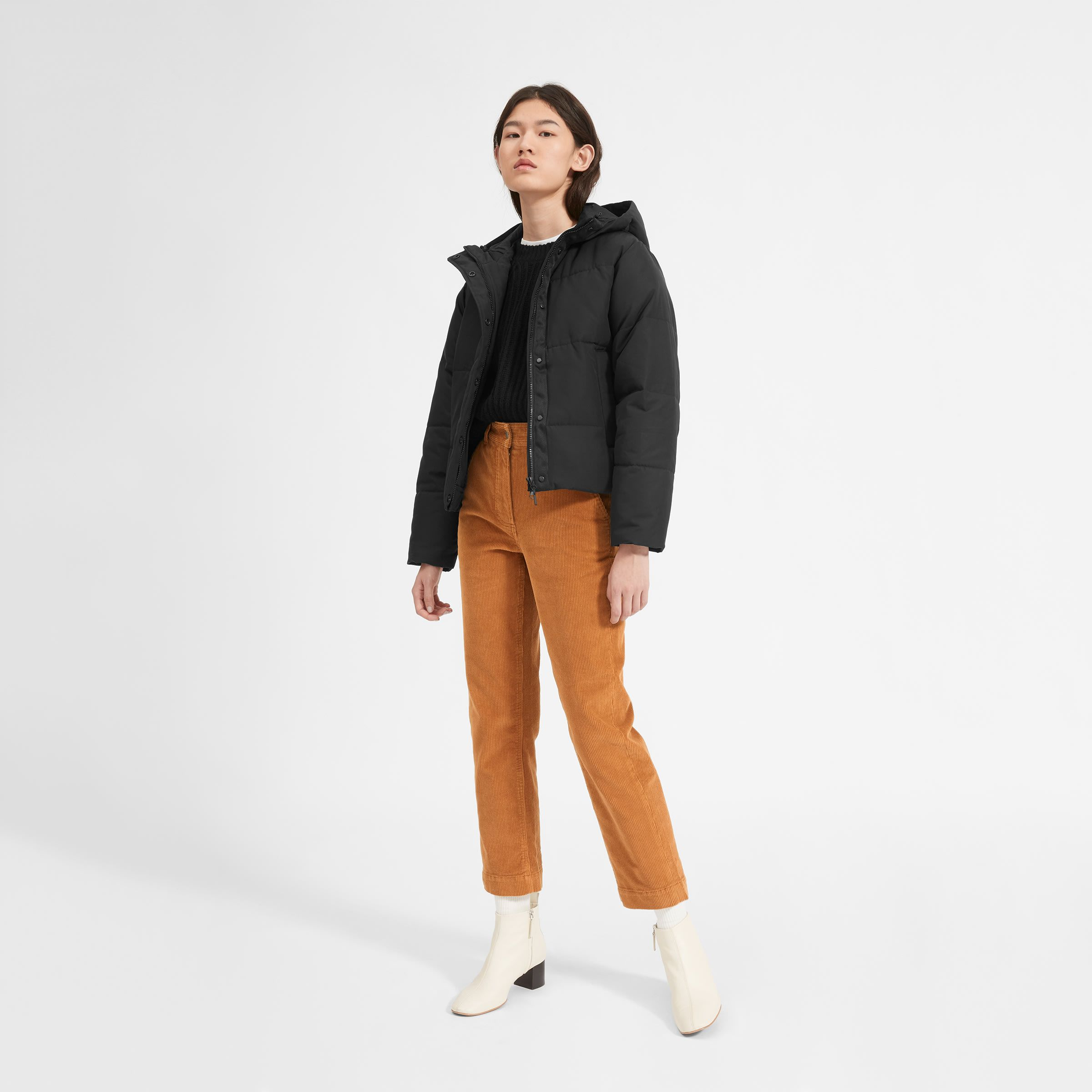 A More Sustainable Take On A Cool Classic Our Puffer Jacket Features A Cropped Boxy Shape Insulated Short Puffer Jacket Outfit Puffer Jacket Outfit Fashion [ 2400 x 2400 Pixel ]