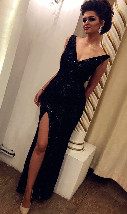 d842c13da171 Charming V Neckline Split Side Evening Dress, Sexy #promdresses #fashion  #shopping #dresses #eveningdresses #black