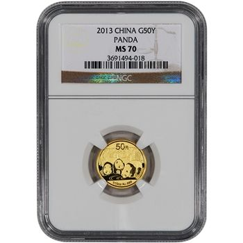 CHINA  PANDA 2013   NGC MS 70  1//10 OZ  GOLD  50 YUAN