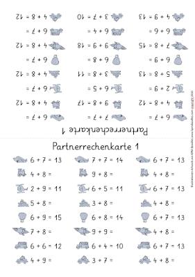 partnerrechenkarten zur addition in zahlenraum 20 mathe