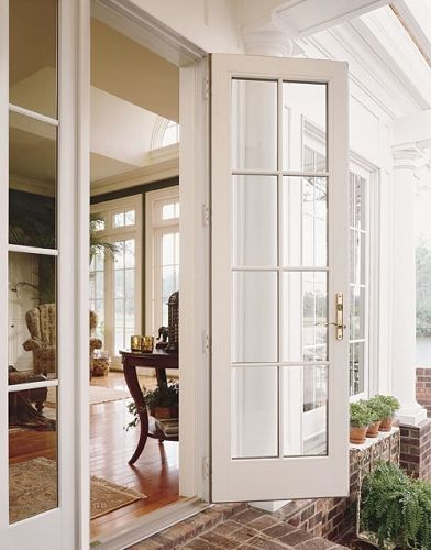 Andersen   400 Series Frenchwood Outswing Patio Door With Sidelights And  Colonial Grilles