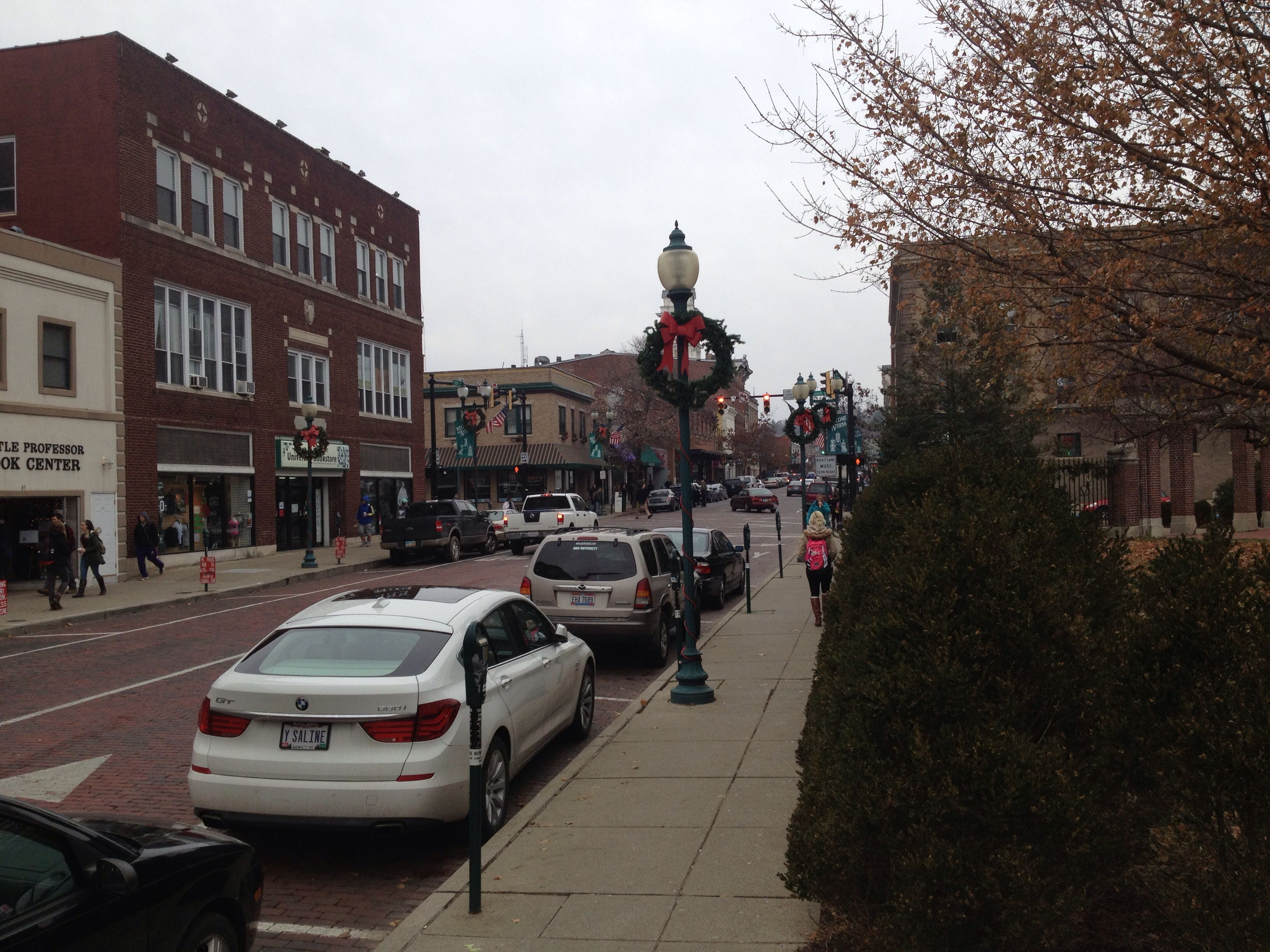 Court Street dressed up for the holidays Athens Ohio