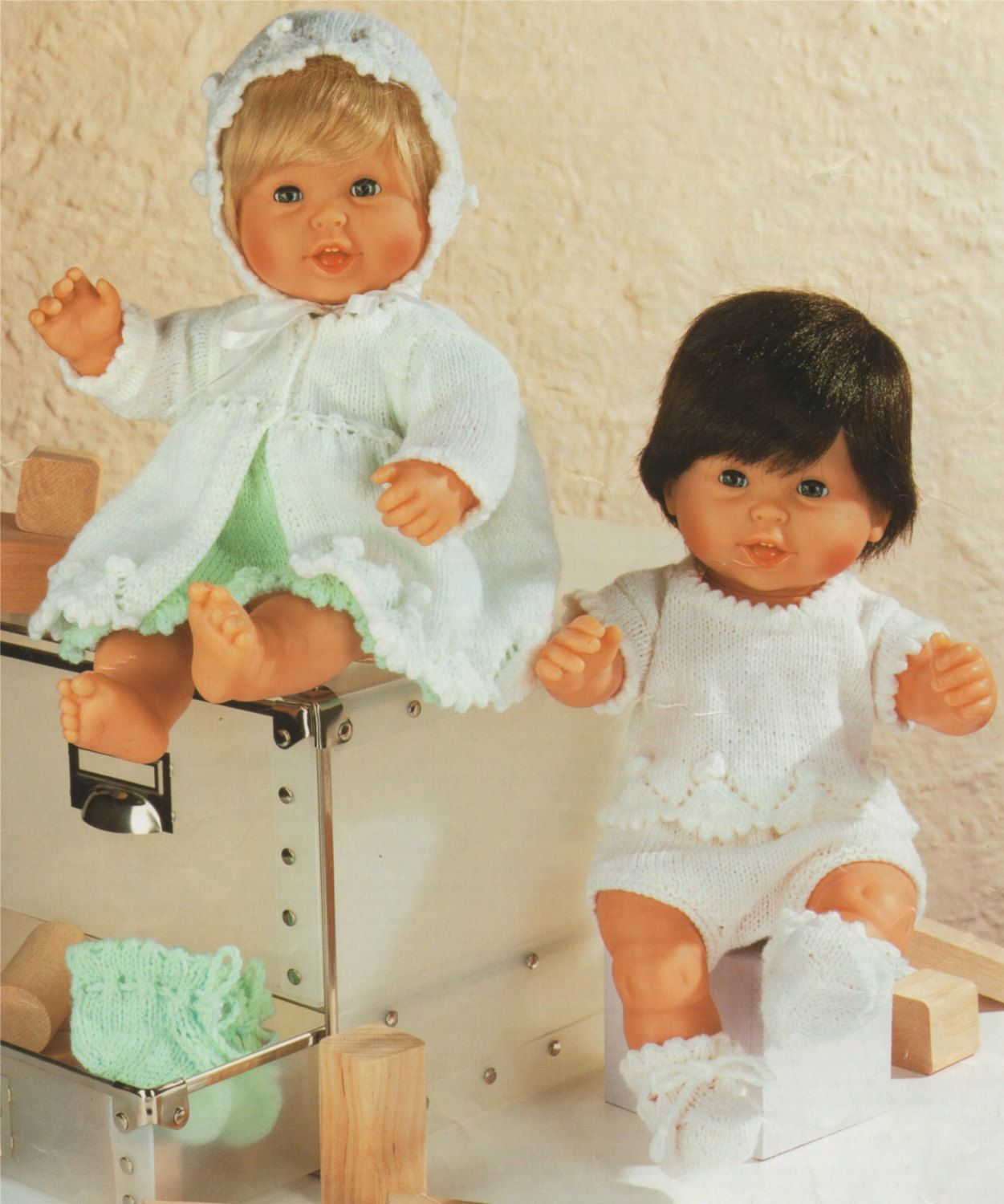 Dolls Clothes PDF Knitting Pattern : Baby Dolly 14 inch high and 12 ...