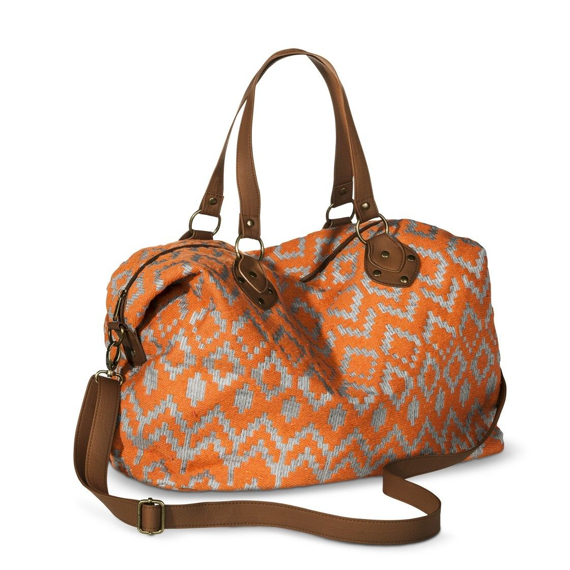 Mossimo Supply Co Aztec Print Weekender Handbag With Removable Strap Orange
