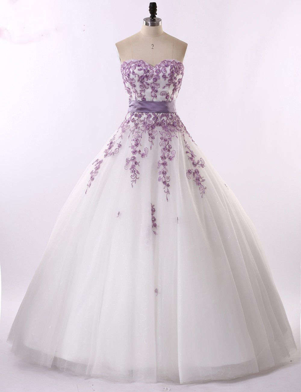 Real Photo White And Light Purple Sweetheart Wedding Dresses Embroidery Dress 2017 Crystal Floor Length
