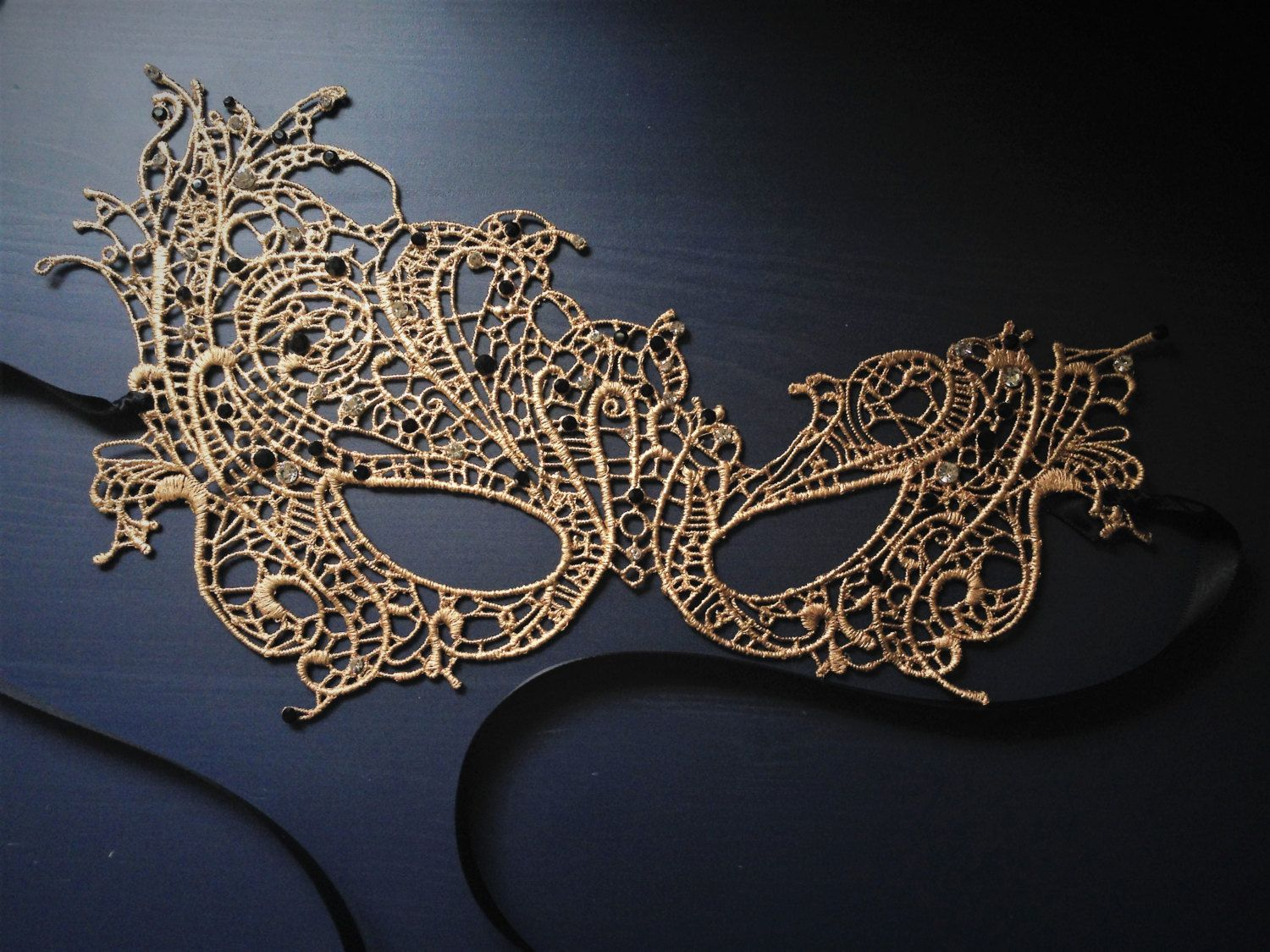 Gold And Jet Black Studded Butterfly Masquerade Mask For