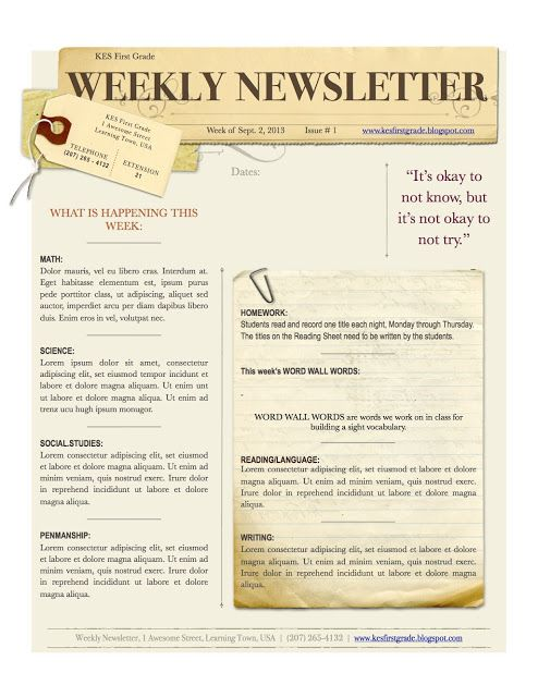 free weekly newsletter template