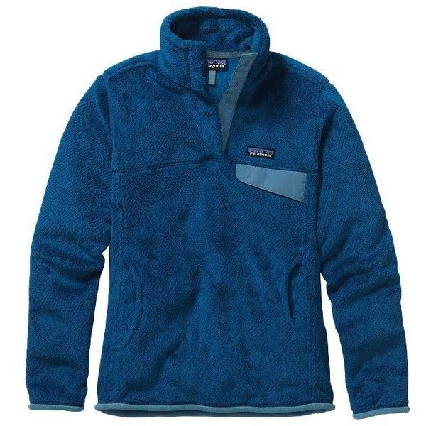 Patagonia Women's Re-Tool Snap-T Fleece Pullover ❤ liked on Polyvore featuring tops, sweaters, long blue sweater, fleece pullover, fleece sweater, thermal sweater and sweater pullover